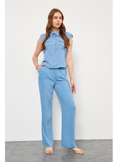 Setre Mavi Gömlek Pantolon ıkili Takım Mavi
